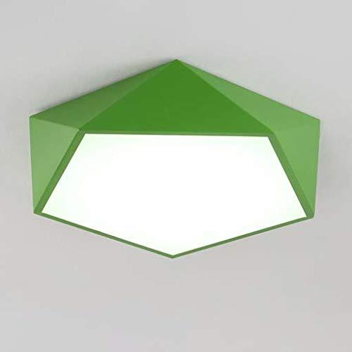QCKDQ Semi Flush Mount Deckenleuchte, kreative geometrische Bunte Kinderlampe, dimmbare LED-Deckenleuchte, Persönlichkeit Multilateral Line Led Wohnzimmer Deckenleuchte,Grün,52cm -