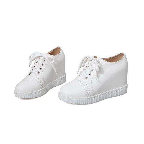 AllhqFashion Femme Lacet à Talon Haut Pu Cuir Couleur Unie Rond Chaussures Légeres Blanc