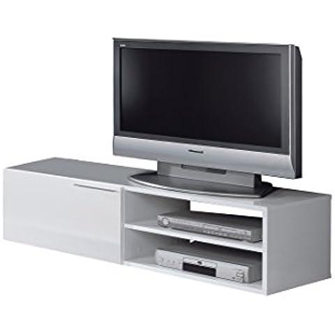 Habitdesign - Mueble comedor televisor bajo, una puerta y un estante color blanco brillo dimensiones 35 x 130 x 42