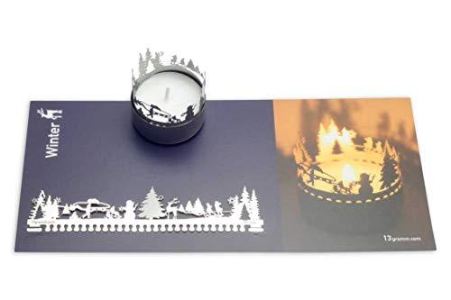13gramm Winter Windlicht Schattenspiel Geschenk, 3D Edelstahl Aufsatz für Kerze inkl. Karte