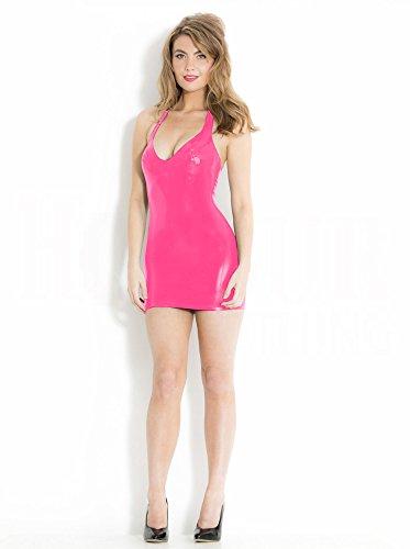 Latex Rubber Mini Halter Dress Pink UK 10 - S