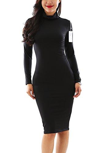 YMING Damen Kleid Sexy figurbetontes Kleid Turtelneck Kleid Langarm Cocktailkleid,Schwarz,S / DE 36-38 (Rollkragen Seide Jersey)