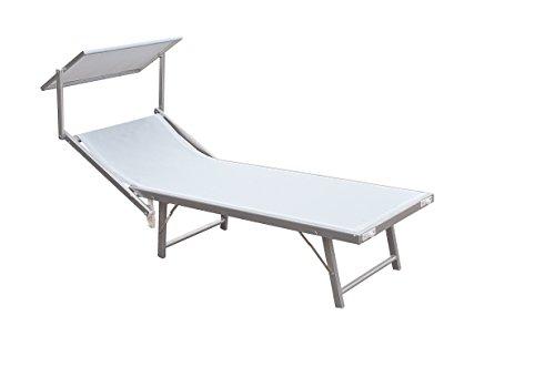 Lettino mare ibiza in textilene 580 gr/m² colore bianco.