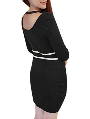 sourcingmap Femme Insert Maille Semi-transparente Rayures tricoté Robe Moulante Noir