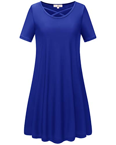 HomRain Damen Rundhals Kurzarm T-Shirt Kleid Lose Tunika Casual Minikleid Royal Blue 2XL -