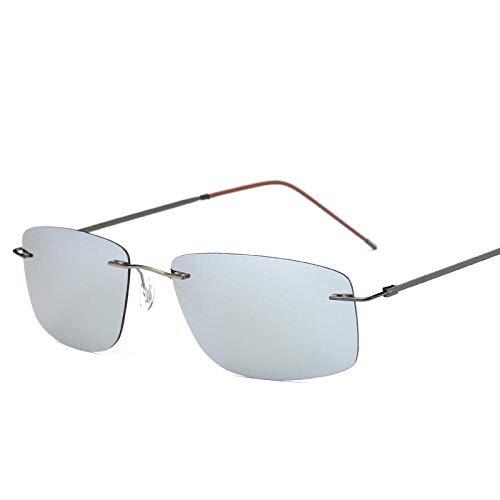 Klassisches Retro-Outdoor-EssentialFahrerspiegel rahmenlose Titan-Sonnenbrille Polarisierter Sonnenschutz-Fahrerspiegel Farbfolie quadratisch Metall-Silber