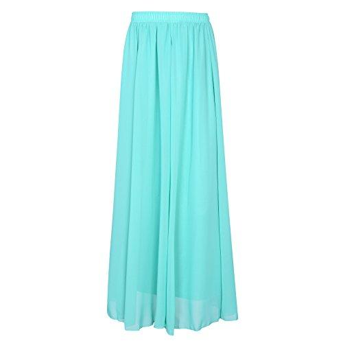 SUNNOW Korean Women Chiffon Boho Plissee Retro Maxi langer Rock-elastischen Bund Tanz-Kleid (Size Rock Rock Langer Plus)
