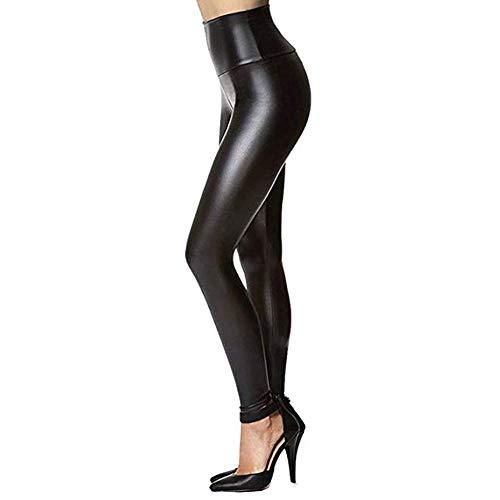 MEIbax Leggings Deportes Pantalones para mujeres de cuero elásticos pitillo negro de Cintura Alta Medias Pu Leggins cuero Skinny Elásticos Gimnasio de Fitness Gym Yoga Skinny Casual Mallas