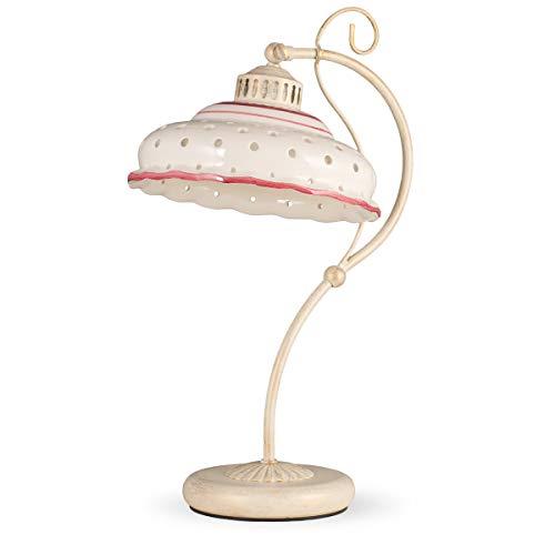 Helios Leuchten 4071412 Tischlampe Keramik antik - weiss | rot bemalt | Keramiklampe Keramikleuchte | Tischleuchte handgefertigt | 1 x E27 -