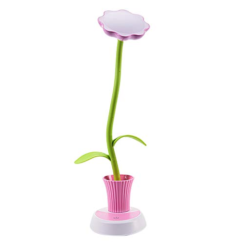XZANTE Kinderlampe Led Schreibtischlampe Berührungssteuerung Dimmen Von Licht Flexibel USB Wiederaufladbare Studieren Lampen mit Stifthalter Sonnenblume Rosa + Grün -