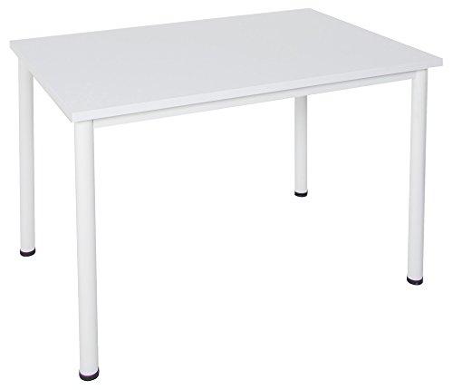 Schreibtisch / Besprechungstisch in verschiedenen Größen und Farben weißes Metallgestell Konferenztisch Arbeitstisch (B: 160 cm x T: 80 cm, Weiß)