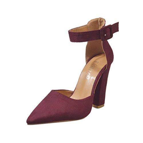 squarex Elegant Frauen Schnalle Damen Knöchel High Heels Block Party Singel Schuhe Adult 4.5 UK/ Foot Length:8.9.-9.1