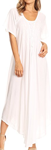 Sakkas 1701 - Lilia gestickter schnüren Sich Oben Mieder Relaxed Fit Maxi-Kleid - Weiß - OS -