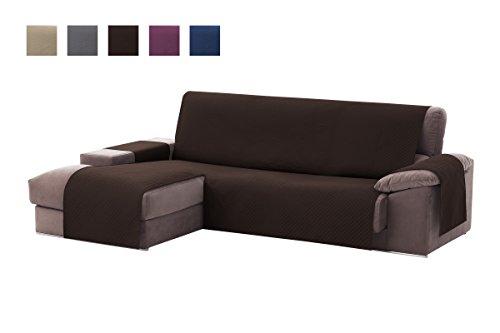 Textilhome - copridivano salvadivano chaise longe adele - color marrone -bracciolo sinistra - protezione per divani imbottiti - dimencione 240cm -(visto di fronte).