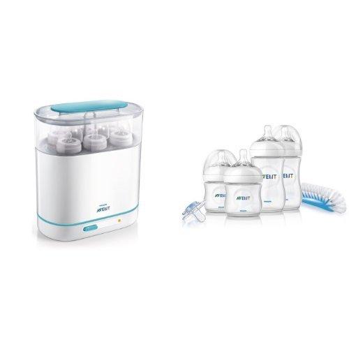 """Philips AVENT, Sterilizzatore a vapore elettrico 3 in 1 per biberon e accessori + Set """"Prime Poppate Natural"""" con Biberon, tettarella e succhietto"""