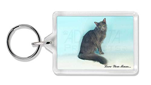 Advanta - Keyrings Javanese Cat 'Love You Mum' Foto Schlüsselbund TierstrumpffüllerGeschenk -