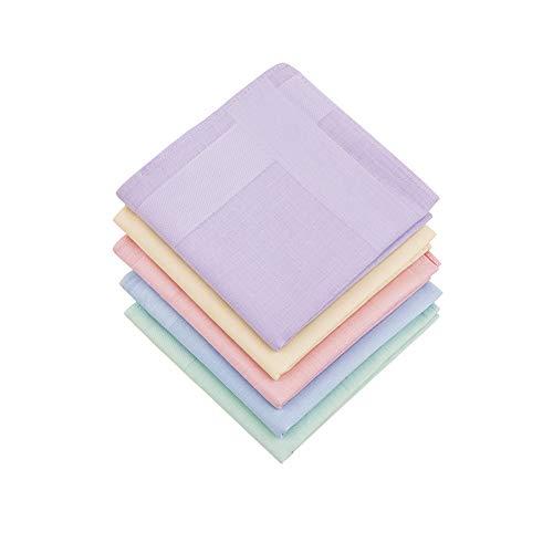HOULIFE 5 Stücke Damen Taschentücher aus Reiner Baumwolle mit Spitzen 40x40cm 5 Farben für Alltagsgebrauch&Hochzeit -