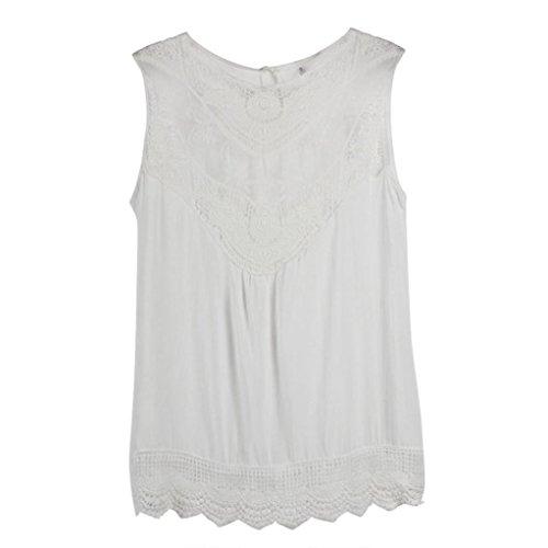 Sunnywill Frauen Sommer-Weste Top ärmellose Bluse lässige Tank-Tops Shirt Spitze für Mädchen Damen Weiß