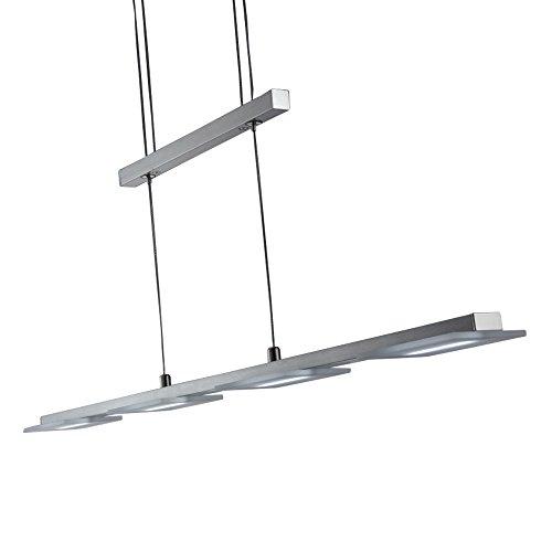 comprare on line Lampadario LED a sospensione I lampada da soffitto per l'illuminazione da interno I luce bianca calda I corpo metallo, nickel opaco I incl. 4 piastre LED 4 W I 230 V I IP20 prezzo
