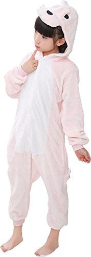 mpsuit Kostüm Overall Flanell Erwachsene Karnevalskostüme Cosplay für Männer Frauen Jungen Mädchen,Rosa Dinosaurier,Passt Höhe 110-120 (Einfache Halloween-kostüme Für 3 Personen)