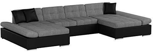 Mirjan24 Ecksofa Alia mit Regulierbare Armlehnen, 2 Bettkasten und Schlaffunktion, U-Form Eckcouch vom Hersteller, Sofa Couch Wohnlandschaft (Soft 011 + Lawa 05 + Soft 011)