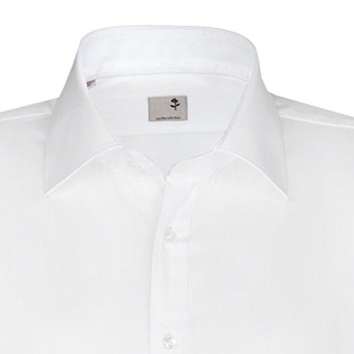 Seidensticker Herren Langarm Hemd Schwarze Rose Slim Fit Paul Match weiß strukturiert mit Patch 243566.01 Weiß
