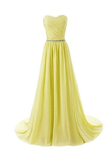JAEDEN Damen Bandeau Ballkleider Lang Abendkleid Chiffon A Linie Brautjungfernkleid Partykleid Gelb