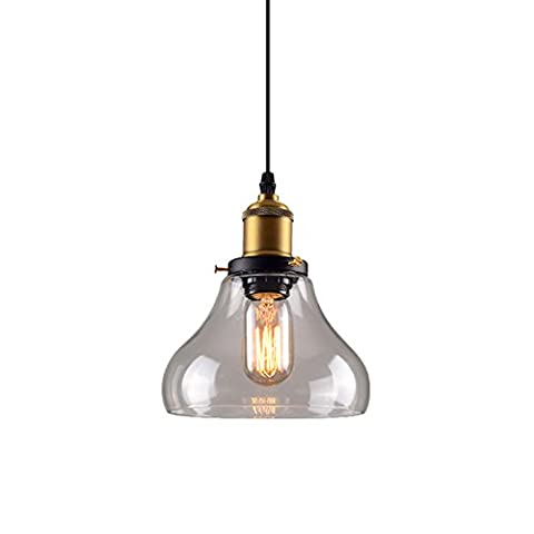 HJXDtech-Retro Ceiling Light Pendant In Rustic Copper With Glass Shade Edison Bulb Chandelier
