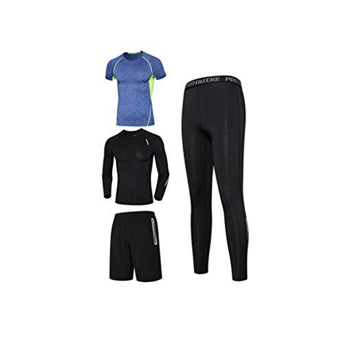 Lilongjiao Herren Fitness Bekleidung Anzug Strumpfhosen Laufen Geschwindigkeit Trocknen Atmungsaktiv Fitness Kleidung Sportbekleidung Yoga Kleidung Strumpfhosen Kompressionsanzug Vier Sätze