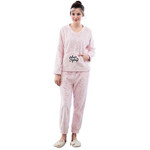 Muster Flanell-pyjama (HXQ Damen Zweiteiliger Flanell Schlafanzug set Freizeit Gemütlich Pyjamas Herzförmiges Muster , Pink , m)