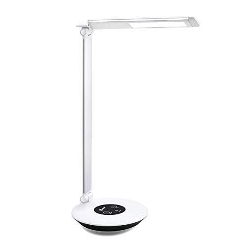 imiGY LED Schreibtischlampe Alulegierung Oberfläche 6W Dimmbare Büroleuchte, Touch Kontrol mit 6 Helligkeitstufe Farbtemperatur von @ 4000K, Silber -