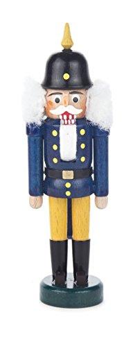 Nussknacker Figur König blau-gelb, mit Pickelhaube, von DREGENO SEIFFEN 14 cm – Original...
