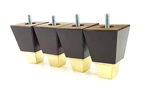 4x Massivholz Möbel Beine Ersatz Füße für Sofas, Stühle, Sofas, Betten, Hocker-M10(10) tsp2013z braun im antik-finish - Mahagoni-holz-finish Couchtisch