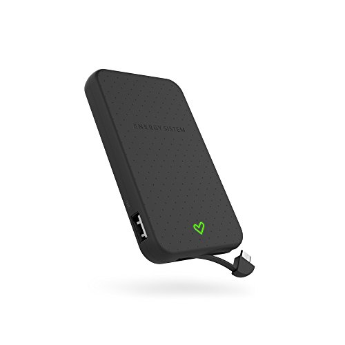Energy Sistem Extra Battery 5000 - Batería externa de carga rápida para tus dispositivos móviles (5000 mAh, cable integrado, indicador LED) color negro
