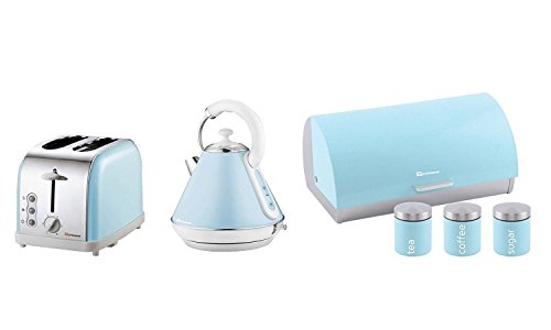 6PC Set of Electric Kettle, Toaster, Bread bin & 3 Canisters – Sky Blue