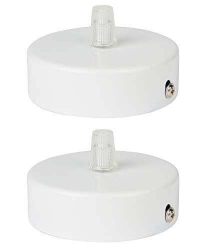 Deckenbaldachin aus Edelstahl (matt Weiß), 80x25 mm incl. Zugentlastung Klemmnippel (Standard m10 Gewinde) zur Lampenaufhängung an der Decke(Deckenrosette/Baldachin). Anzahl: 2 Stück