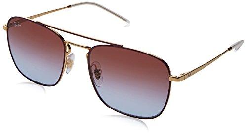 RAYBAN JUNIOR Herren Sonnenbrille RB3588 Gold Top On Bordeaux/Lightbluegradientviolet, 55