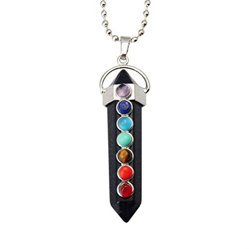OULII Einzigartige Schmuck Kristall Reiki Hexagonal Prism Anhänger Halskette Heilung Stein Perlen Chakra (Heilung, Chakra-kristalle)