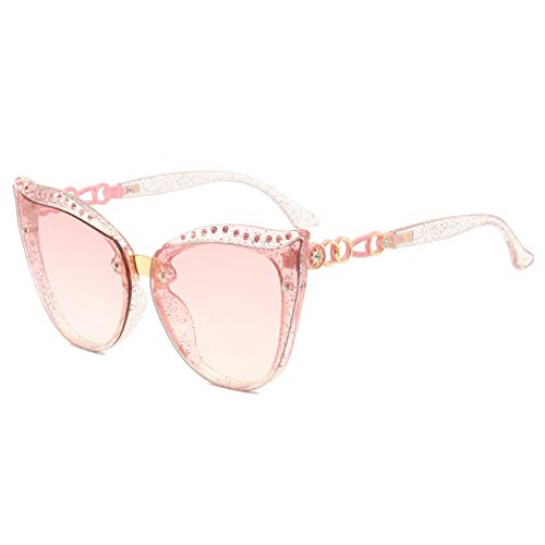 YHgiway Classic Cat Eye Stars Sonnenbrillen Inspired Fashion UV400 Protection Gläser mit Rhinestones YH71489,PinkFrame