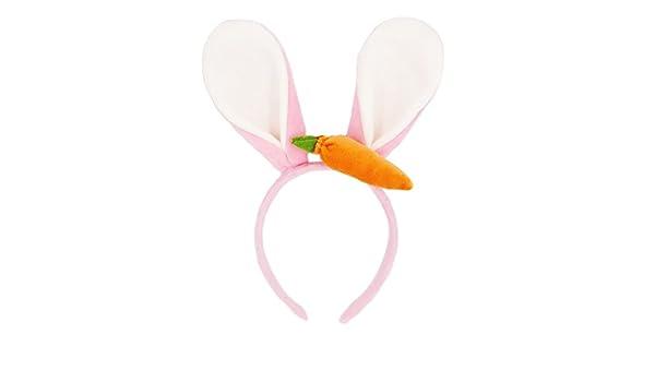Rosa Frcolor Bunny Ears Fascia orsetto orecchie di coniglio con carota Orecchie animali Fancy Dress Headwear