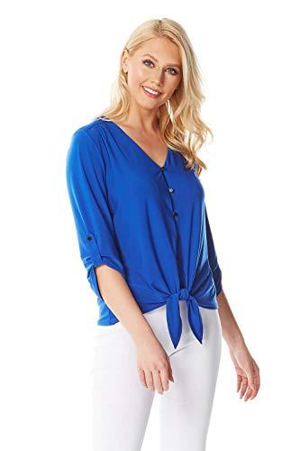 Roman Originals Damen Bluse mit Schnürung vorn - Damen Lässig-Elegante Oberteile aus Jersey für den Herbst mit 3/4-Arm, V-Ausschnitt, Knopfleiste und Knoten an der Taille - Royal Blue - Größe 42