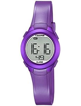 Calypso Unisex Armbanduhr Digitaluhr mit LCD Zifferblatt Digital Display und lila Kunststoff Gurt K5677/2