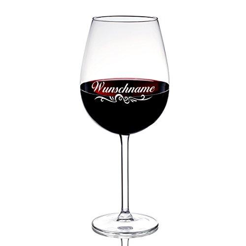 Weinglas 590 ml mit Gravur des Namens - Wein-Glas Geschenkidee