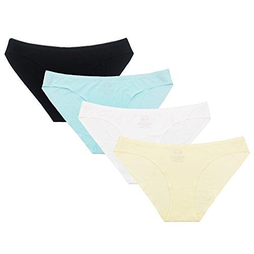 SHEKINI Damen Spitze Panties Slip Höschen Unterhose Hipster Kurze Hose Unterhöschen Soft Nahtlos 4er Paket (Small, Farbe C) (Form Kurzen Höschen)