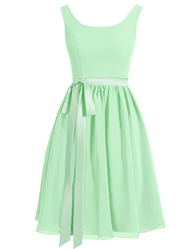 HUINI Abiti Scoop Cinghie Sash Breve Satin Prom Dresses Festa di Nozze Menta Verde