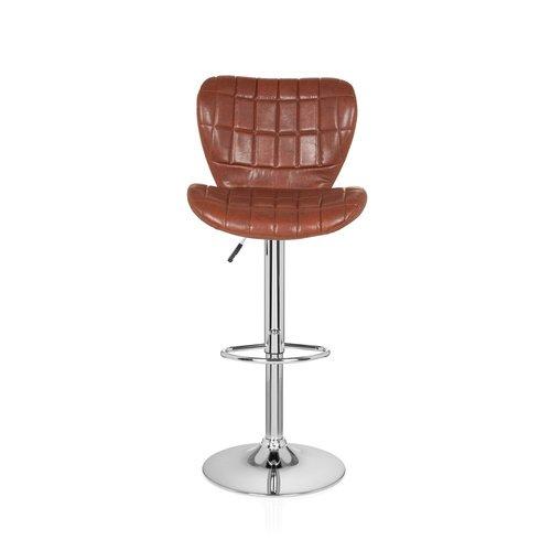 hjh OFFICE 685982 Barhocker Lounger I Kunstleder Braun Tresen-Hocker Bar-Stuhl 2-er Set Höhenverstellbar Rücken-Lehne - Fuß-ring-barhocker