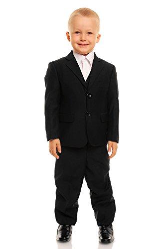 Cinda Schwarz 5 Stück Junge Anzüge Seite Jungenklagen Schwarz 116-122 (Schwarz Anzug 5 Stück)