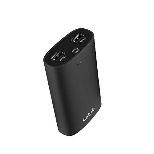 Luxtude Batteria Portatile da 10000mAh Ultra Compatta Caricabatteria Portatile con 2 porta USB Ricarica Rapida per iPhone, iPad, Samsung, Huawei, Nexus, Xiaomi e altro Smartphone (nero)
