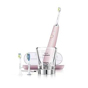 Philips Sonicare DiamondClean Pink edition elektrische Schallzahnbürste im Set mit Ladeglas, USB-Reiseladeetui und zwei Aufsteckbürsten