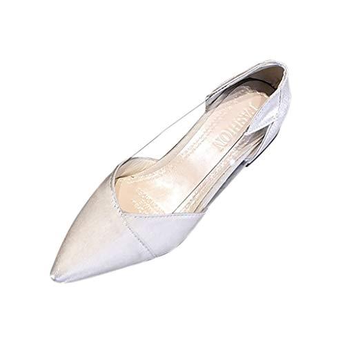 MuSheng Damen Geschlossene Ballerinas Frühling und Herbst Fashion Pointed-Toe Pure Color Transparente Frauen Single Schuhe